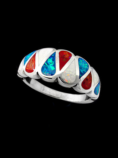 The Patriot Opal Teardrops Ring 925 Sterling Silver