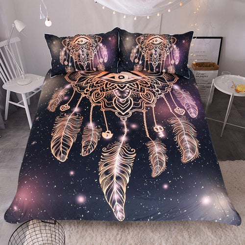Dreamcatcher Purple/Black Bedding Set 3pcs