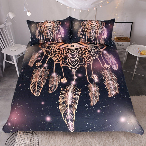 Dreamcatcher Purple Black Bedding Set 3pcs Wolvestuff