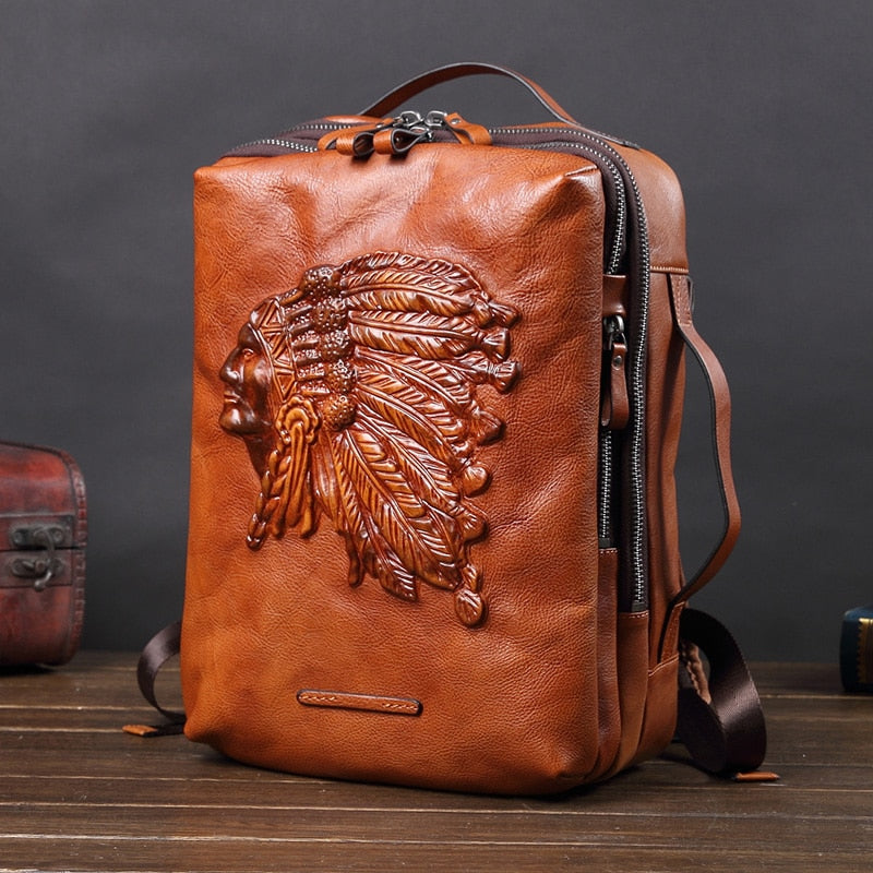War Bonnet Leather Back Pack