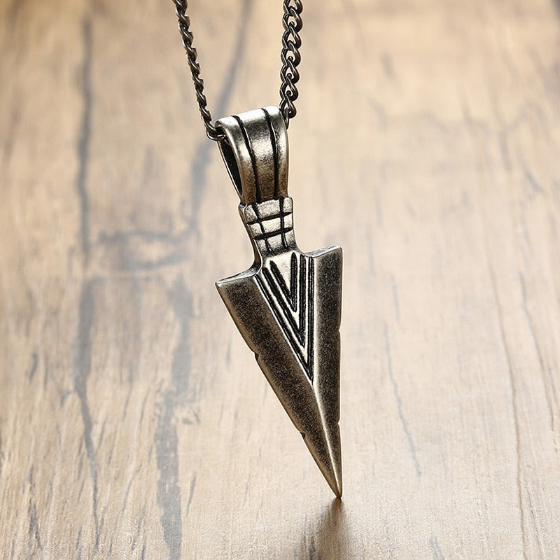 Vintage Spearhead Pendant Necklace- Unisex