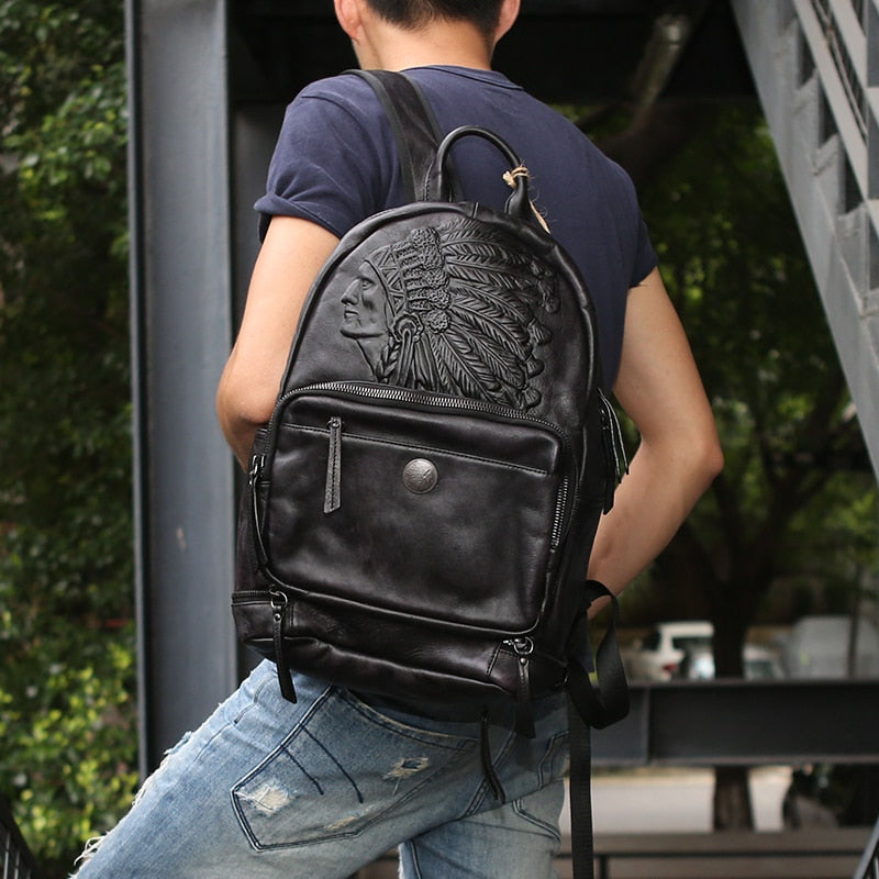 Trail Blazer Leather Back Pack