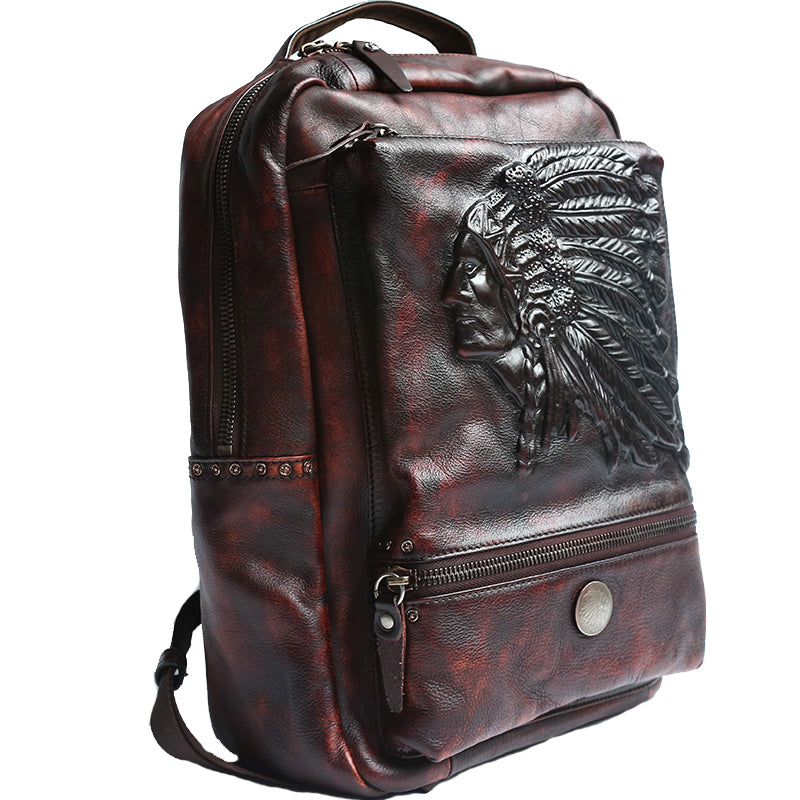 War Headdress Leather Back Pack