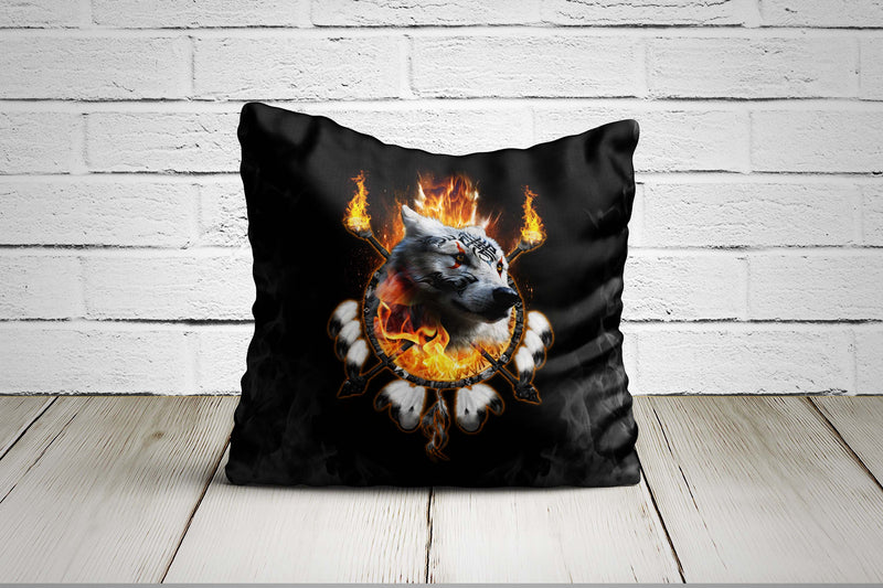 Fire Wolf Chief Pillow Case