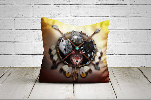 4 Wolves Warrior Pillow Case