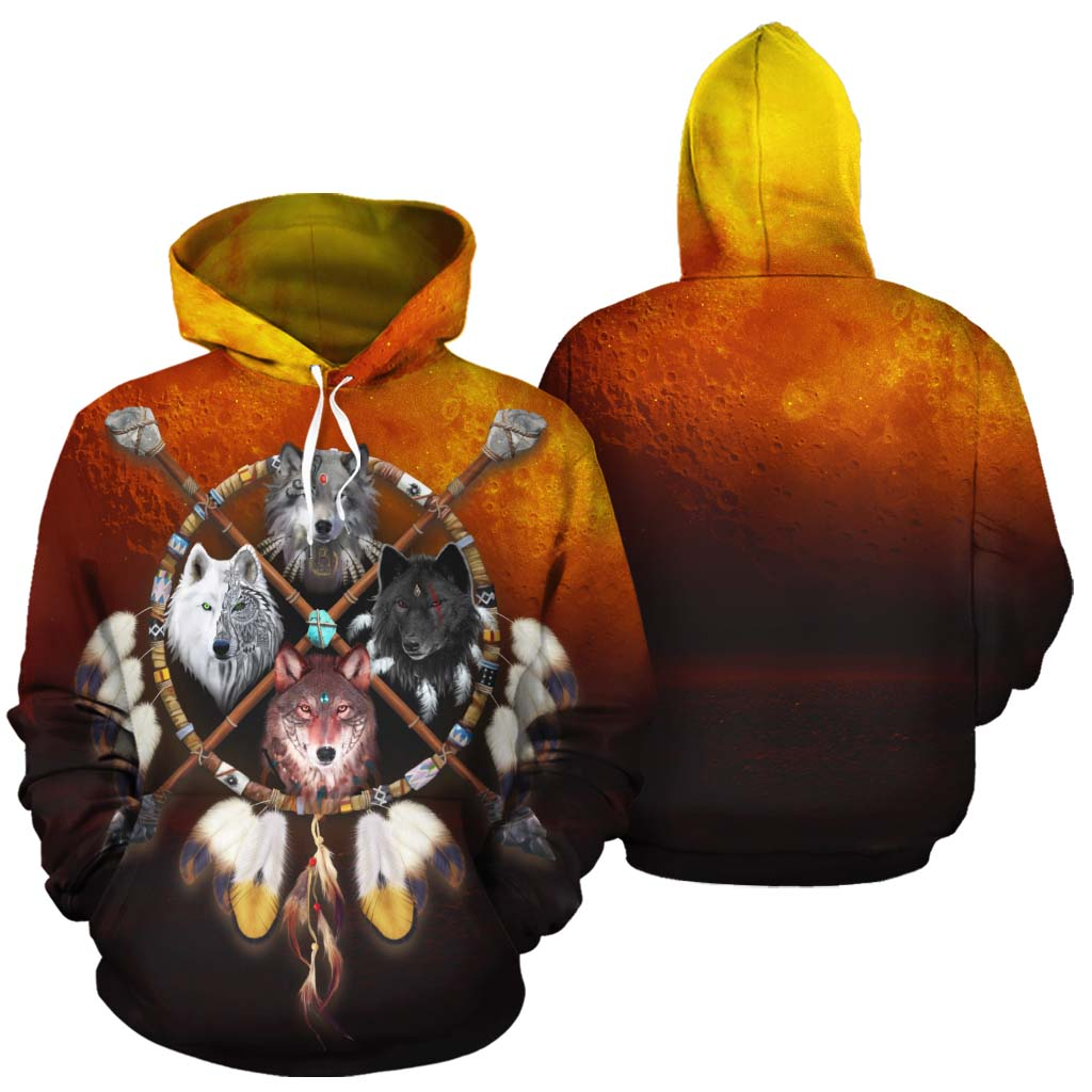 4 Wolves Warrior All Over Print Hoodie