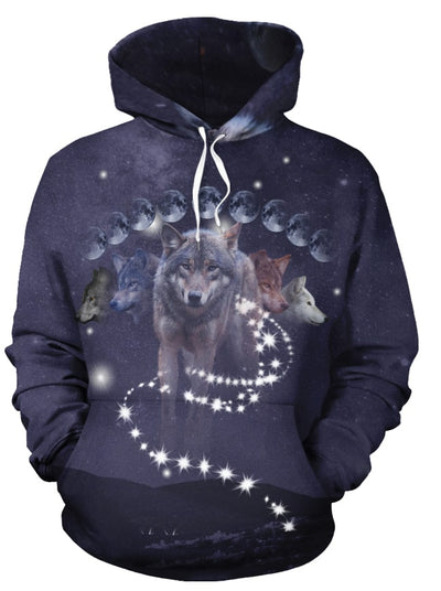 Phases of Luna Wolf All Over Print Hoodie