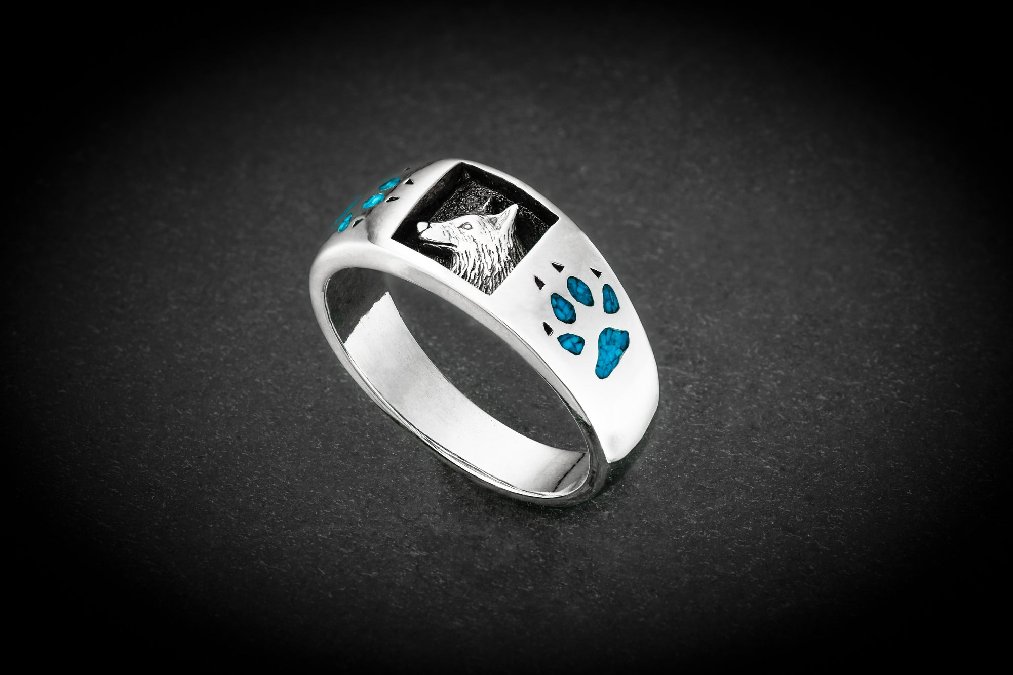 Custom Timber Wolf Ring - Sterling Silver Proud Wolf Ring