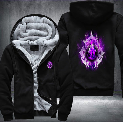 Purple Fire Wolf Fleece Zipper Jacket black