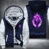 Purple Fire Wolf Fleece Zipper Jacket blue