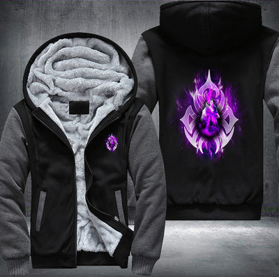 Purple Fire Wolf Fleece Zipper Jacket grey