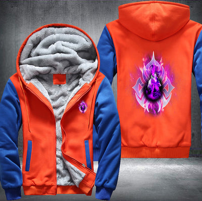 Purple Fire Wolf Fleece Zipper Jacket orange
