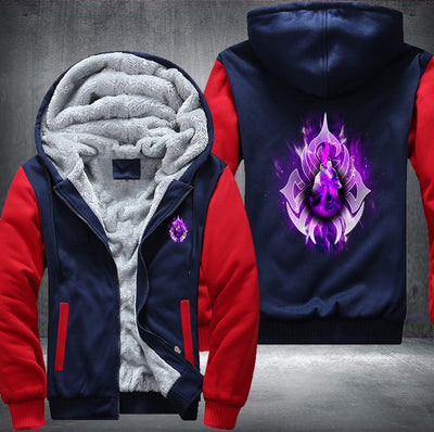 Purple Fire Wolf Fleece Zipper Jacket red
