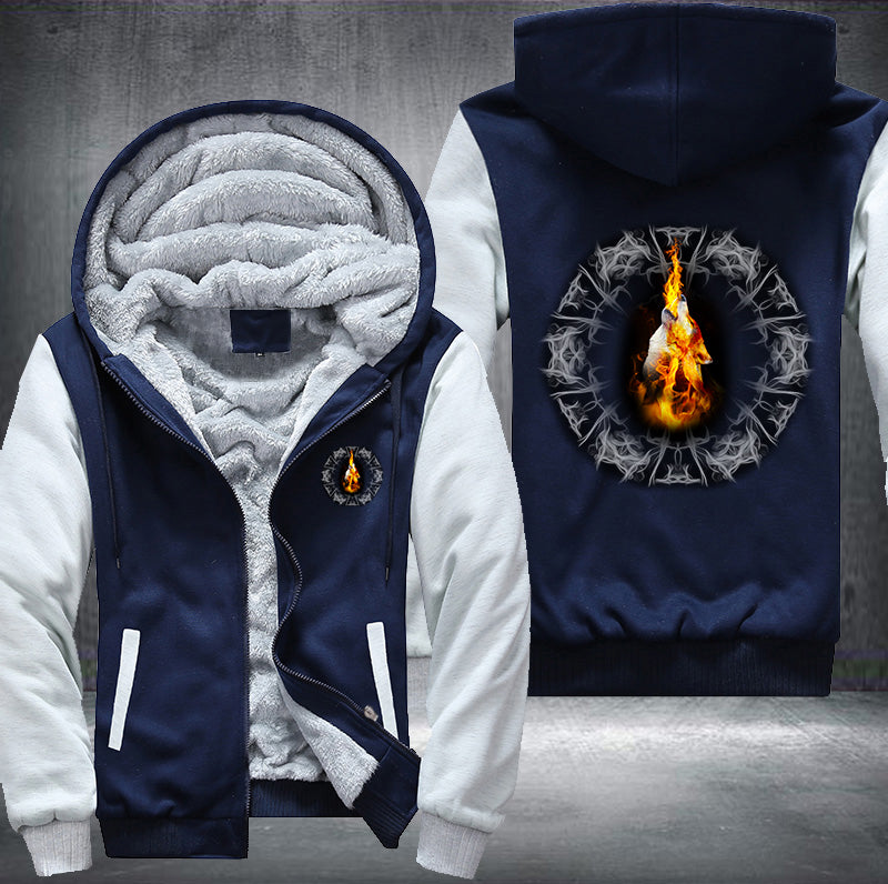 Fire Blazing Wolf Fleece Zipper Jacket