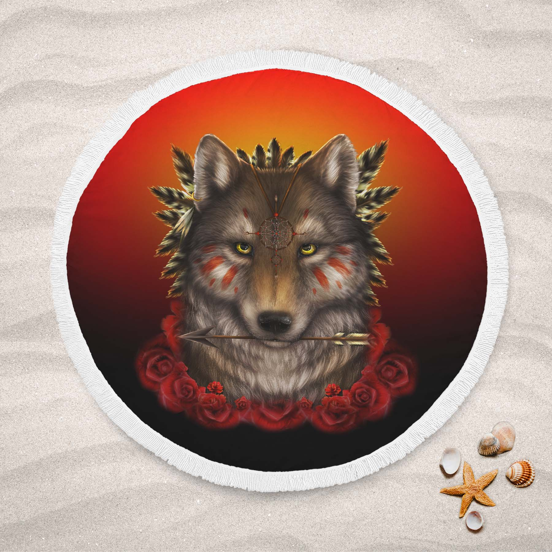 Khalia's Wolf Warrior Round Beach Towel