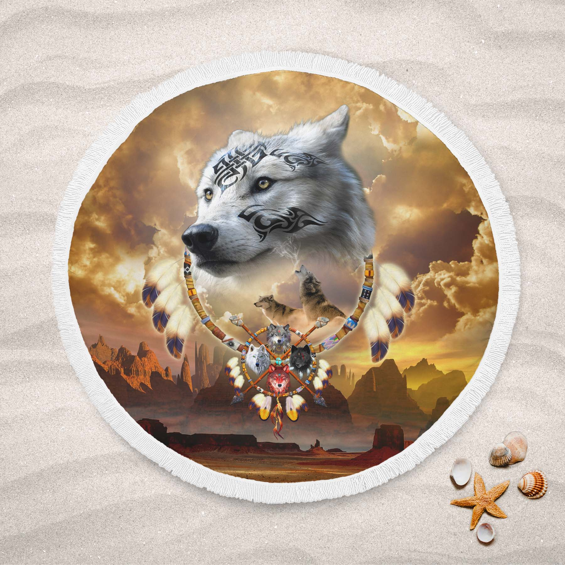 Song of the Elder Warrior Round Beach Towel
