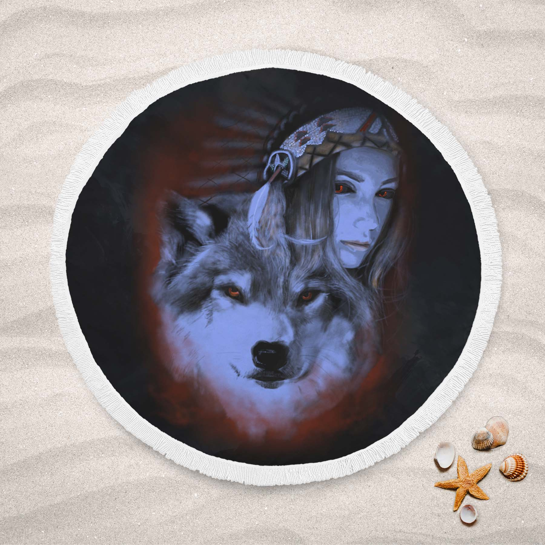 My Wolf My Spirit Round Beach Towel