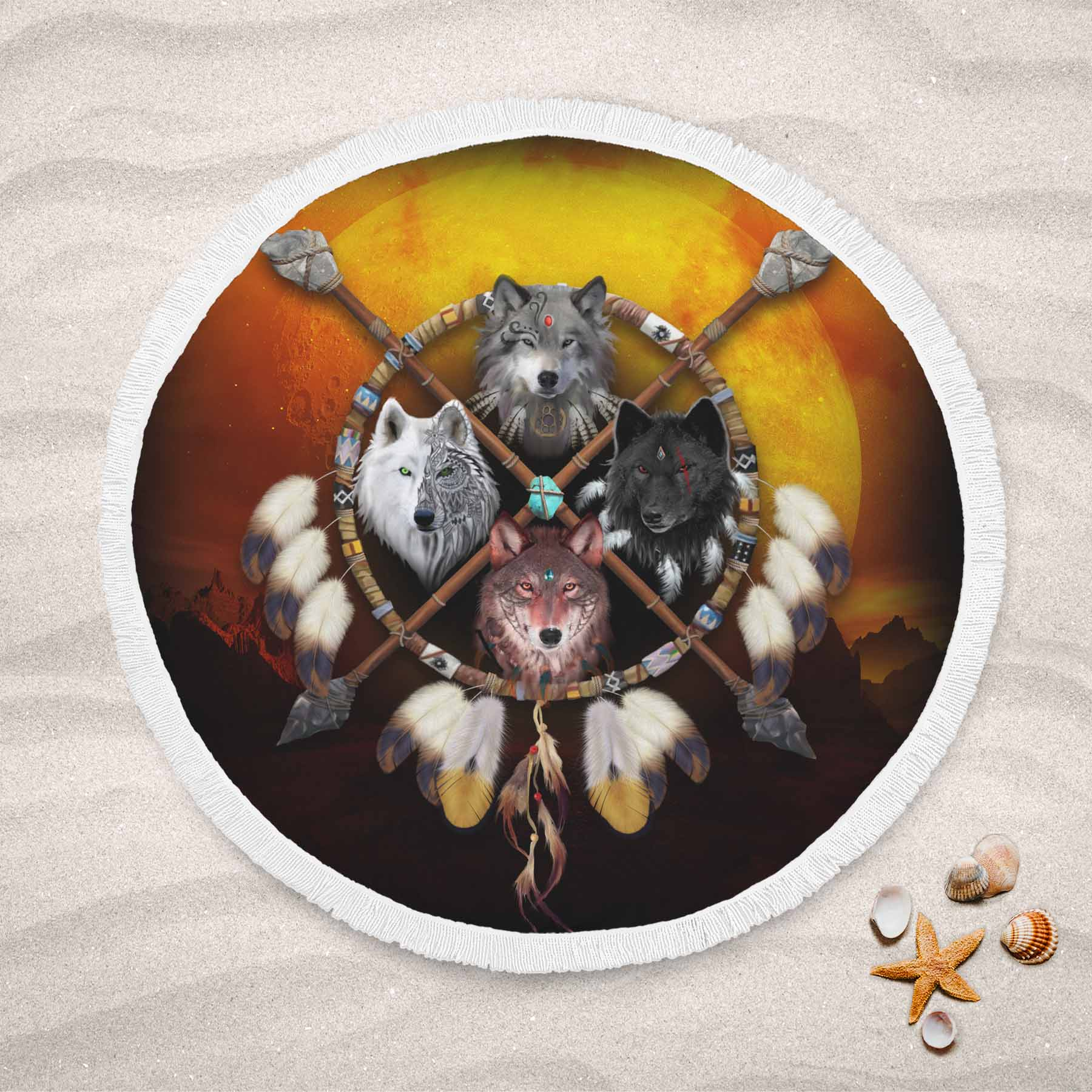 4 Wolves Warrior Round Beach Towel