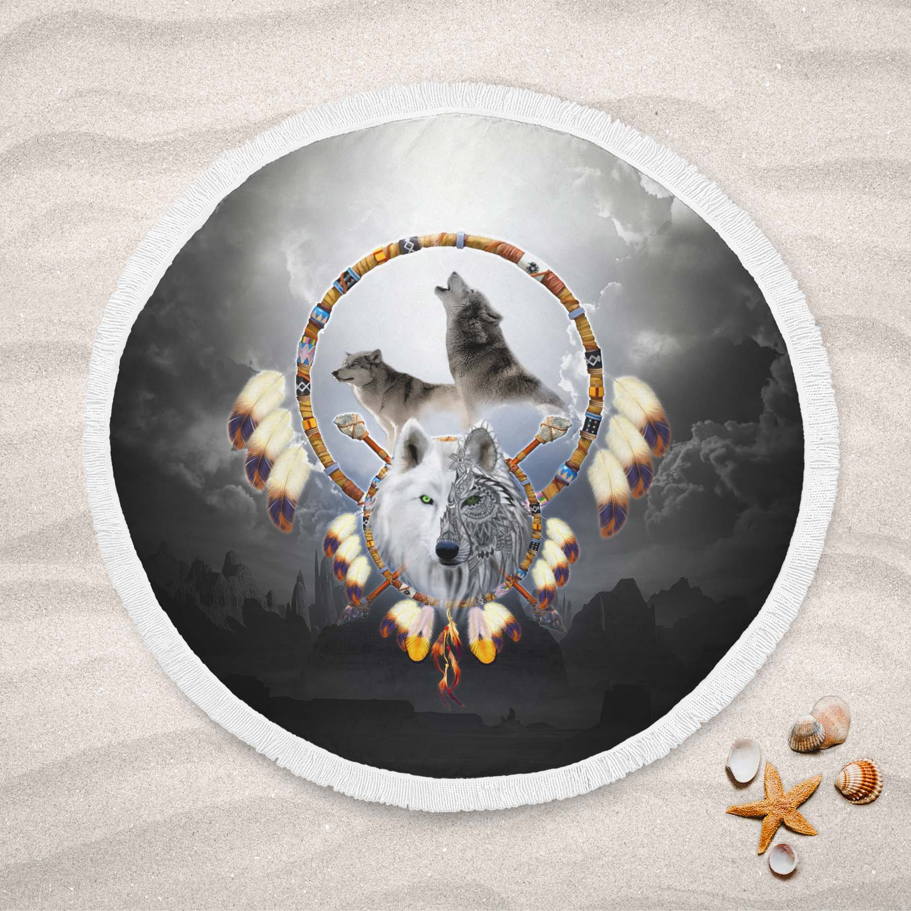 Omega Wolf Round Beach Towel