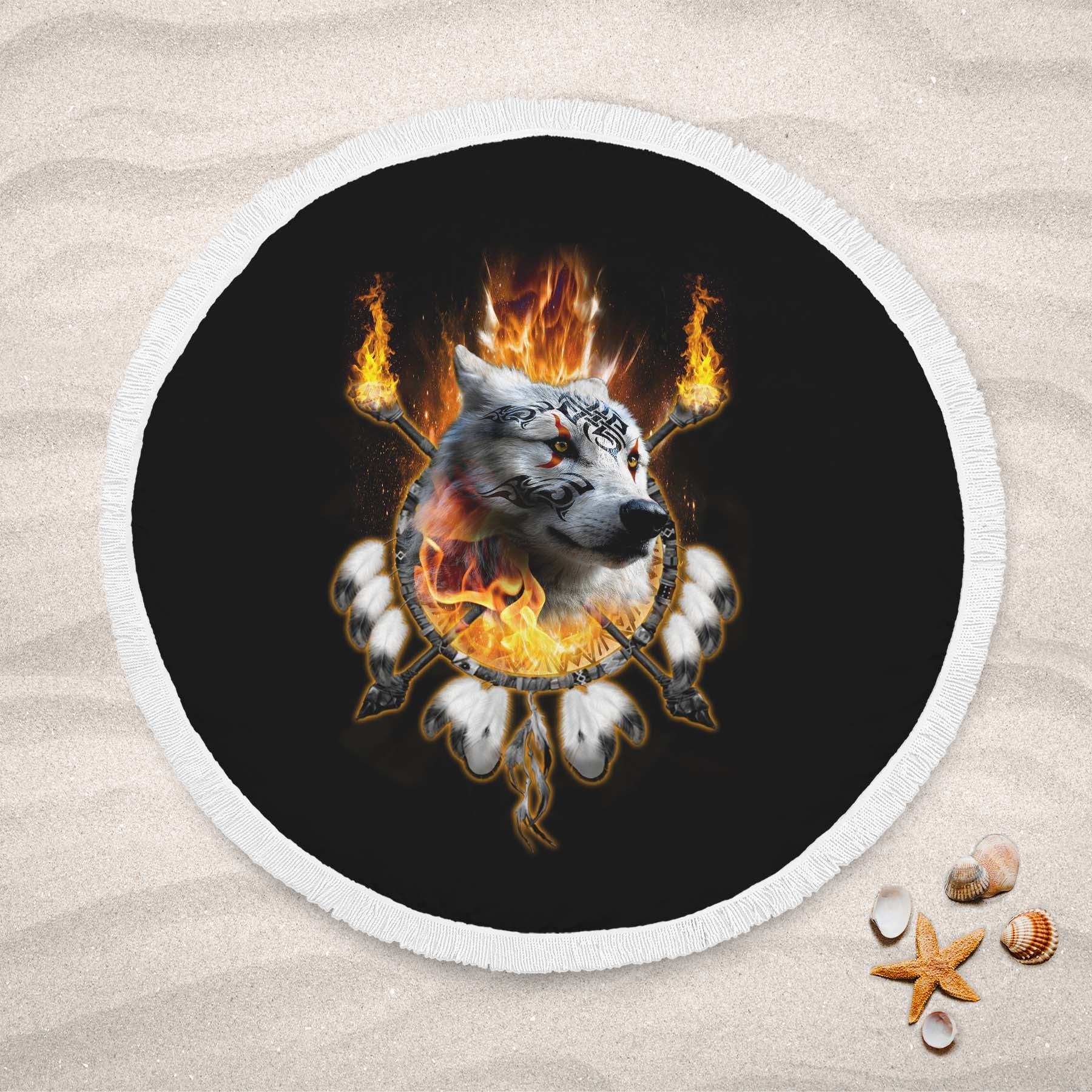 Fire Wolf Chief Round Beach Towel