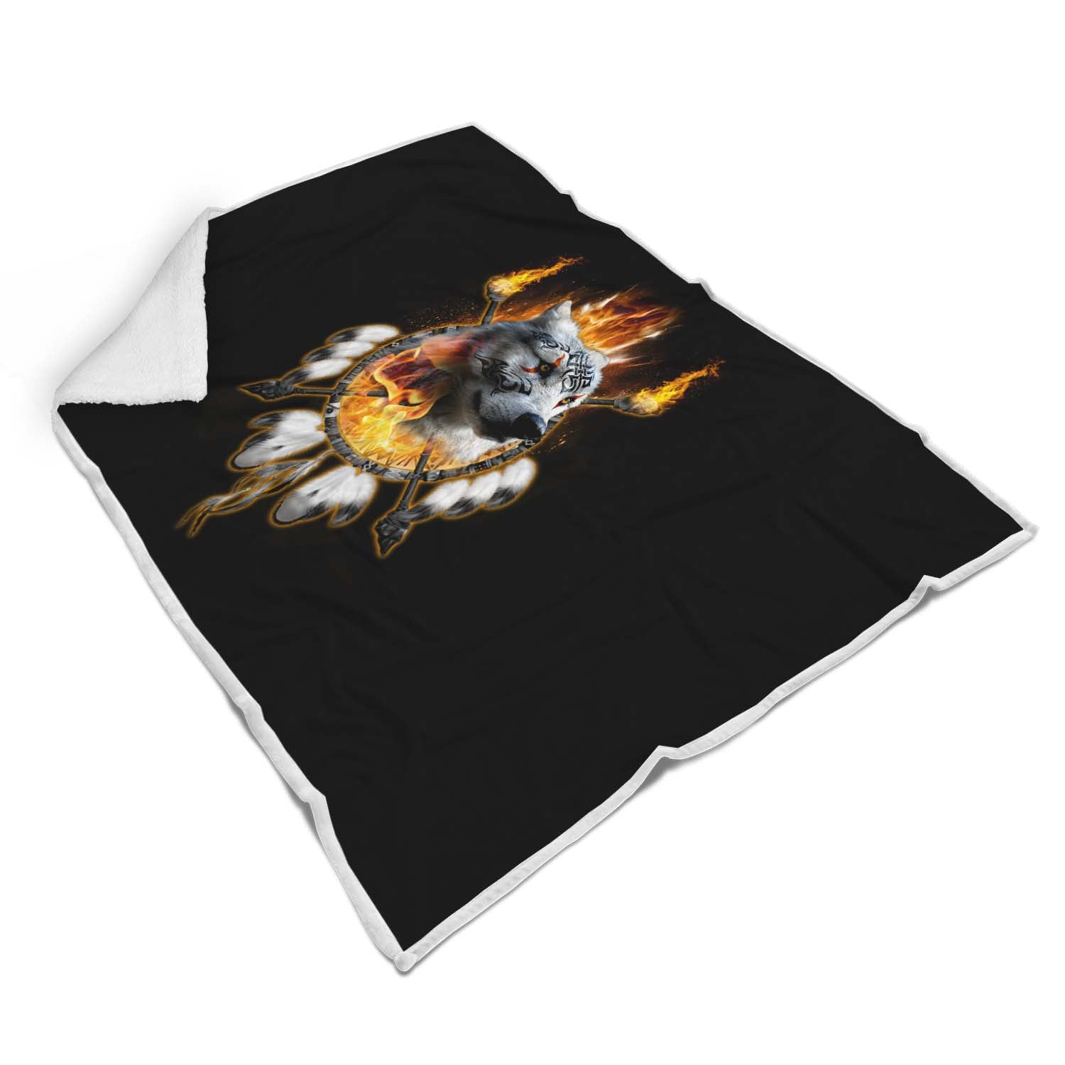 Fire Wolf Chief Sherpa Blanket