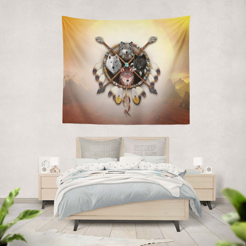 4 Wolves Warrior Tapestry