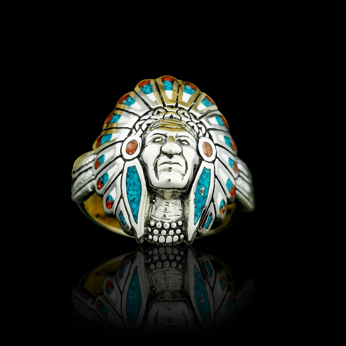 """Navajo Chief Headdress"" Ring With Personalization"