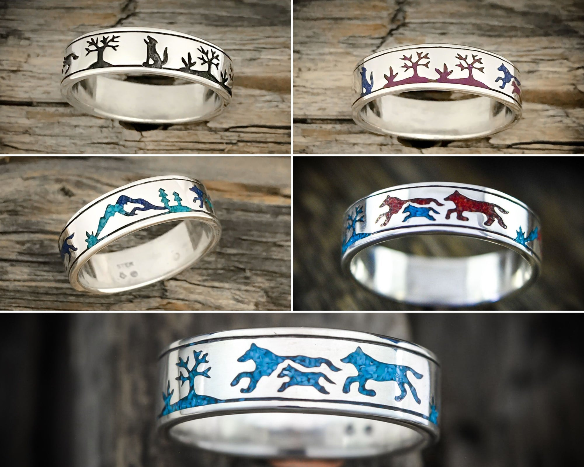 Custom Wolf Pack Ring - Sterling Silver Pack of wolves ring