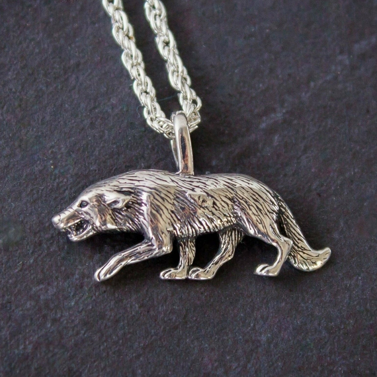 Hunter Wolf Pendant & Chain