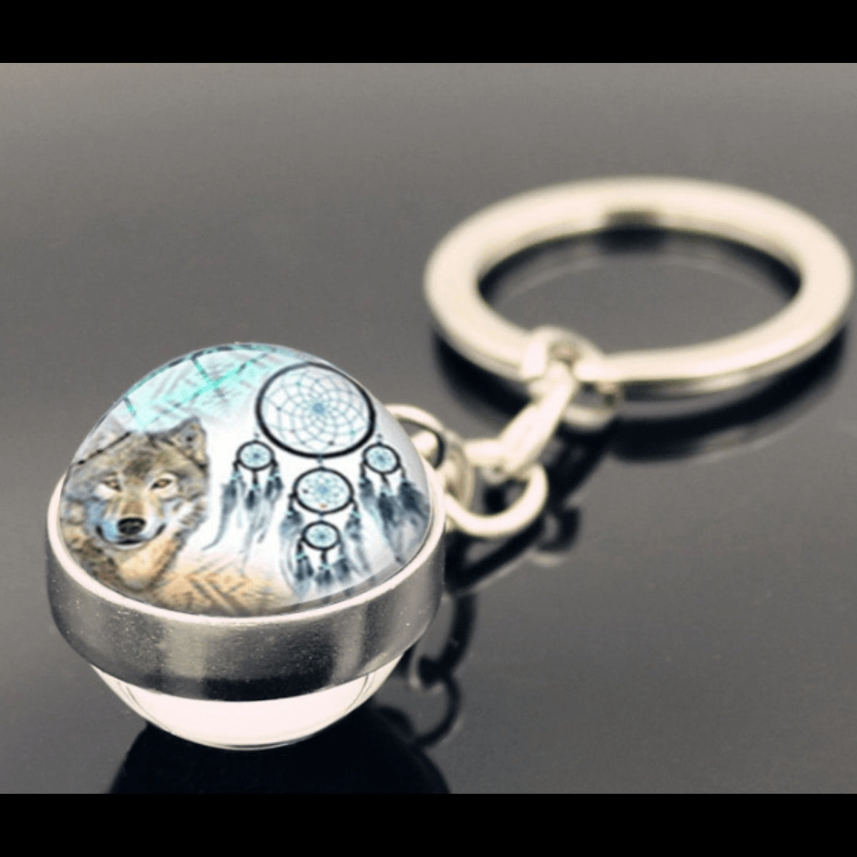 Glow In The Dark Glass Ball Keychain