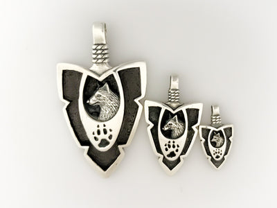 Wolf Paw Arrowhead Pendant - 925 Sterling Silver