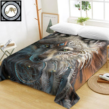 Load image into Gallery viewer, Wolf Warrior Bed Sheet by SunimaArt