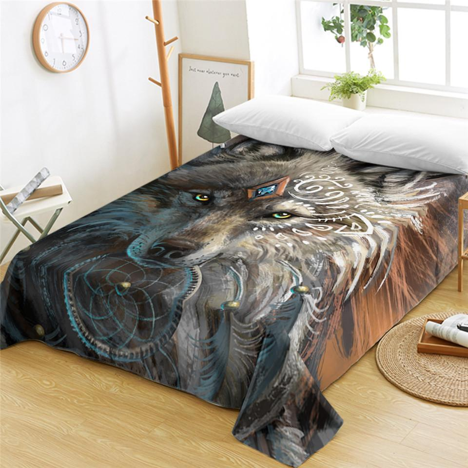 Wolf Warrior Bed Sheet by SunimaArt