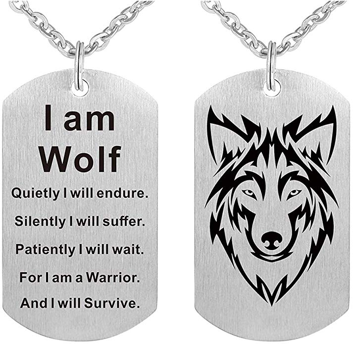 I am Wolf Tag Necklace
