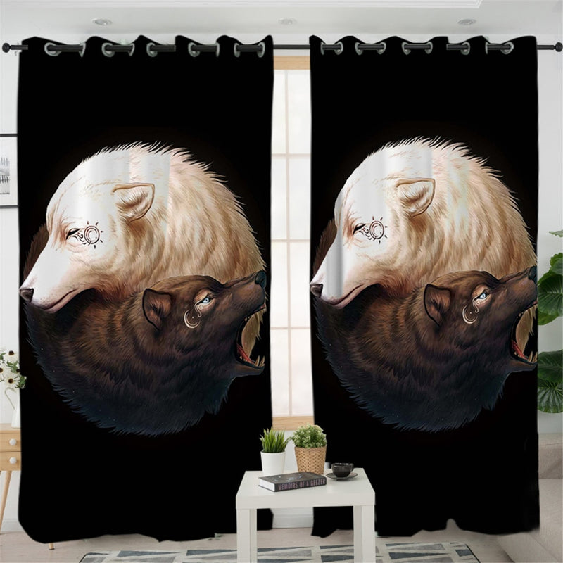 Yin and Yang Wolves Black by JoJoesArt Curtains