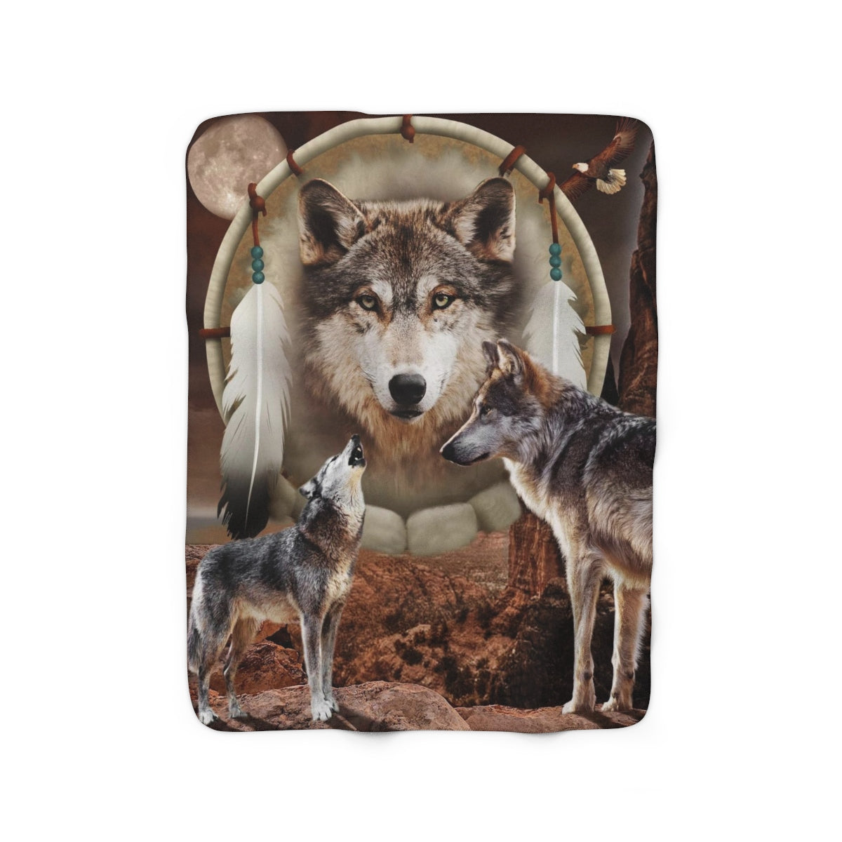 Wolf Dream Guardian Sherpa Fleece Blanket