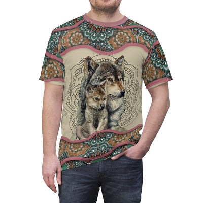 Wolf Mom's Love All Over Print  T-shirt