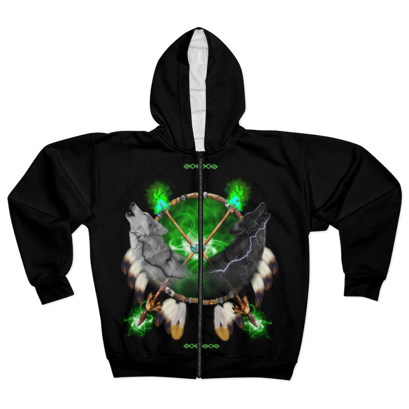 Day and Night Green All Over Print Zip Hoodie