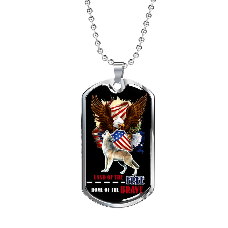 Land Of The Free Dog Tag