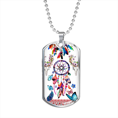 Floral Dreamcatcher Dog Tag