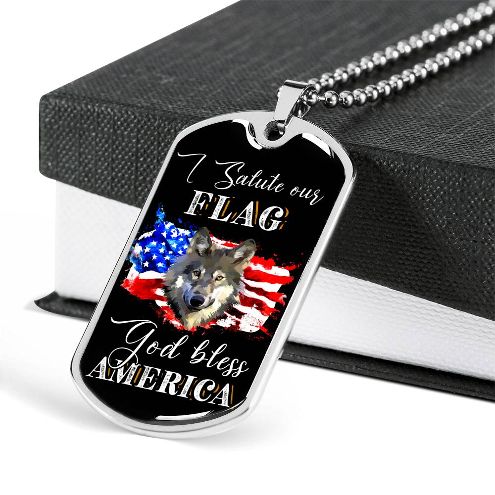 I Salute Our Flag Dog Tag