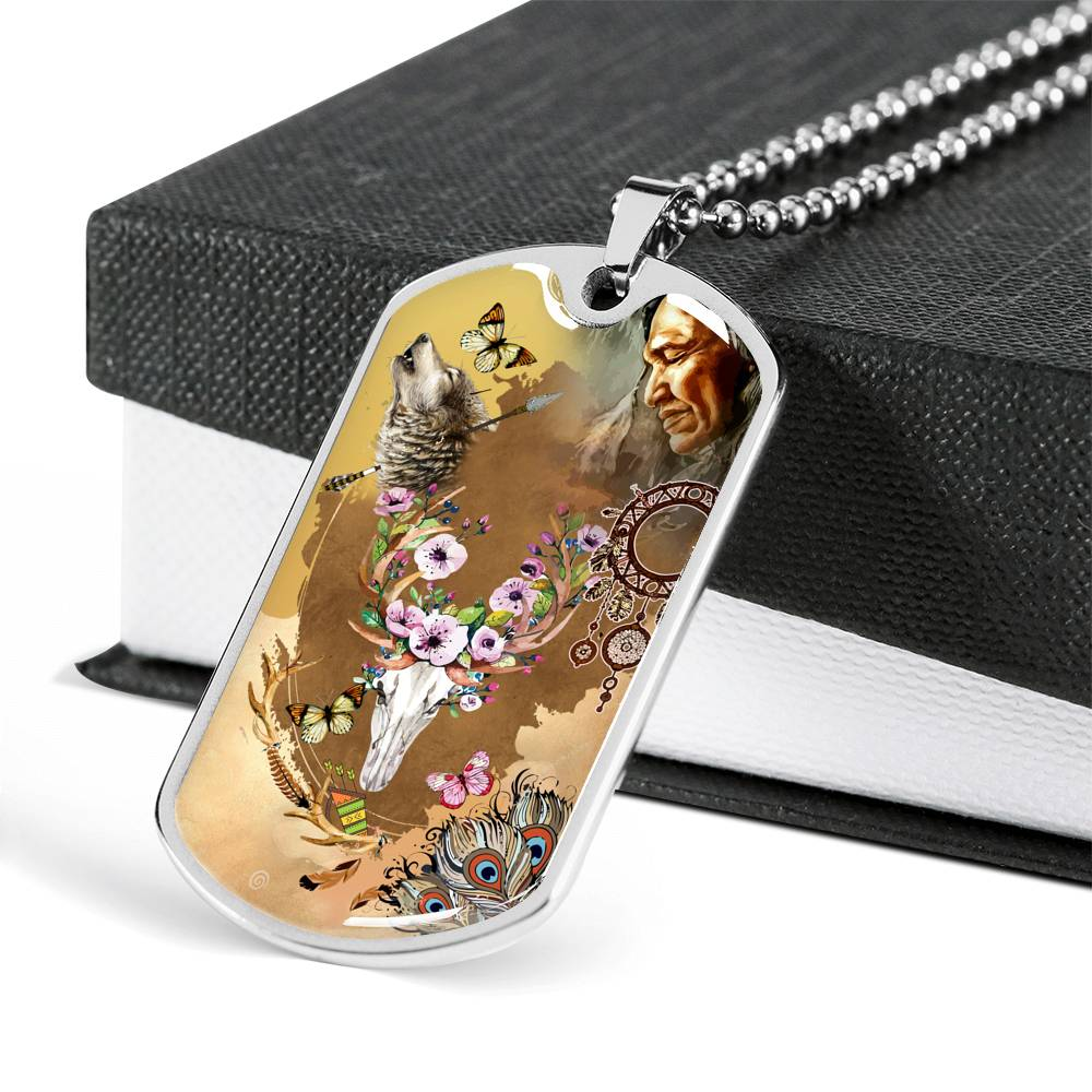 Floral Bull Dog Tag