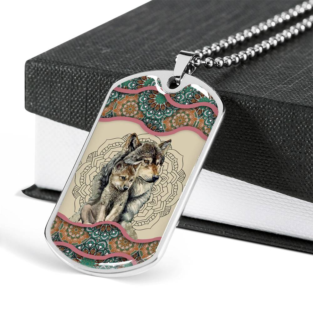 Wolf Mom's Love Dog Tag