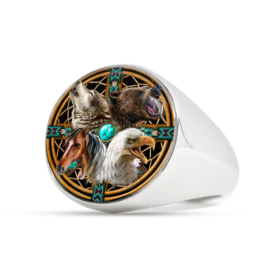 Wolvestuff's Spirit Animals Signet Ring with a vibrant blue pattern, on a white background, Stainless steel finish.