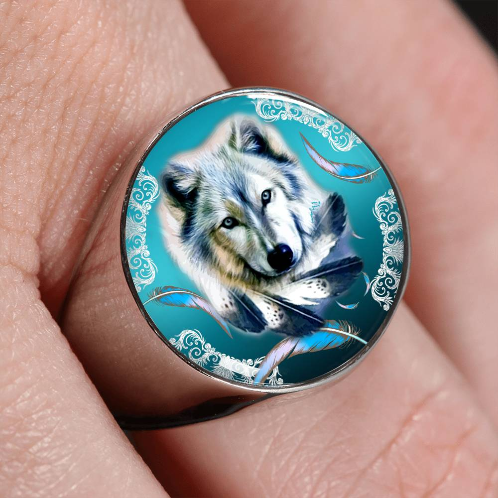 Turquoise Wolf Feather Signet Ring