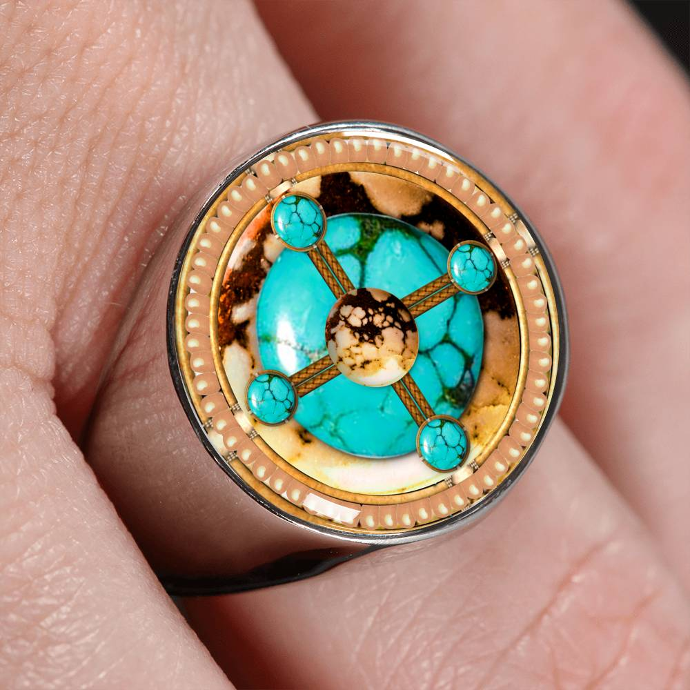 Turquoise Brave Stone Signet Ring