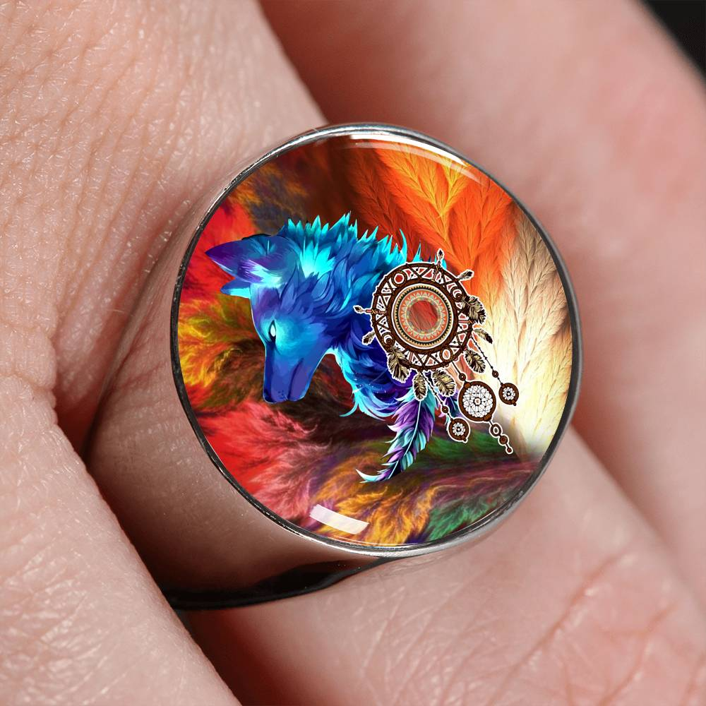 Storm Wolf Signet Ring