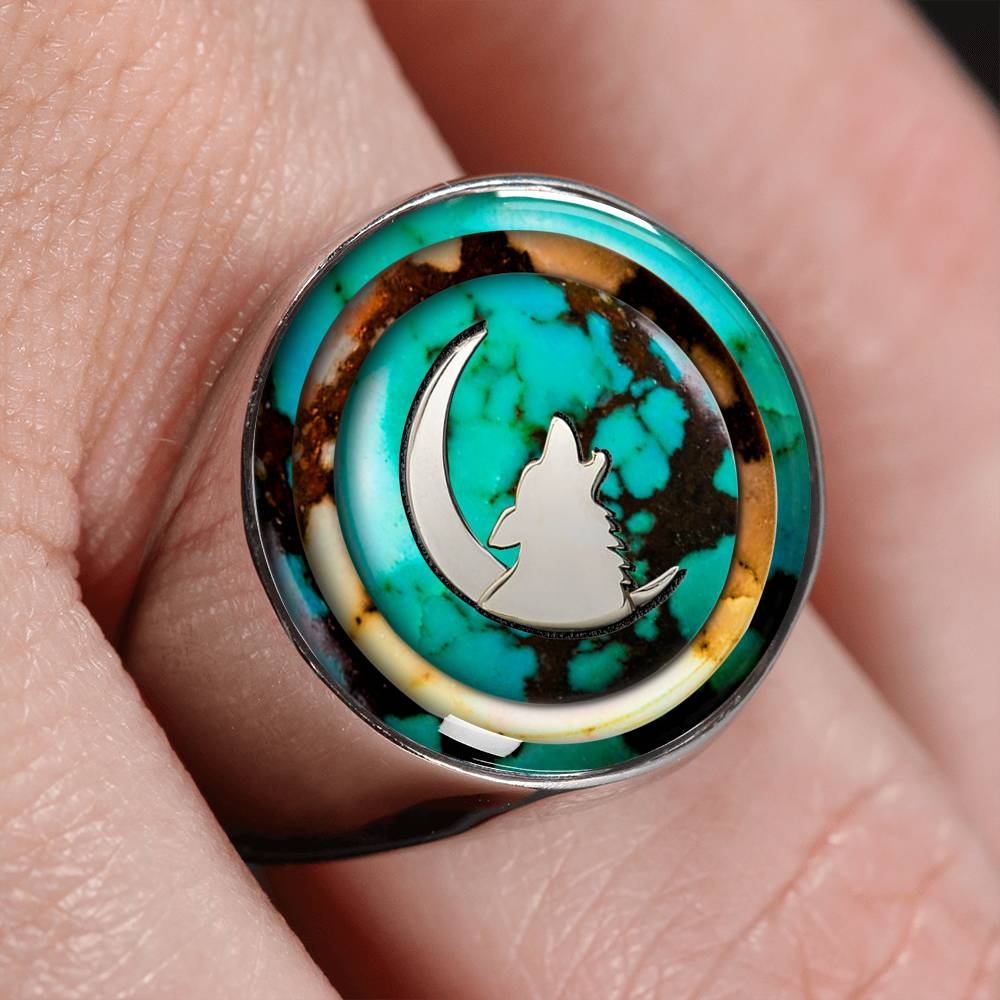 Turquoise Howling Wolf Signet Ring