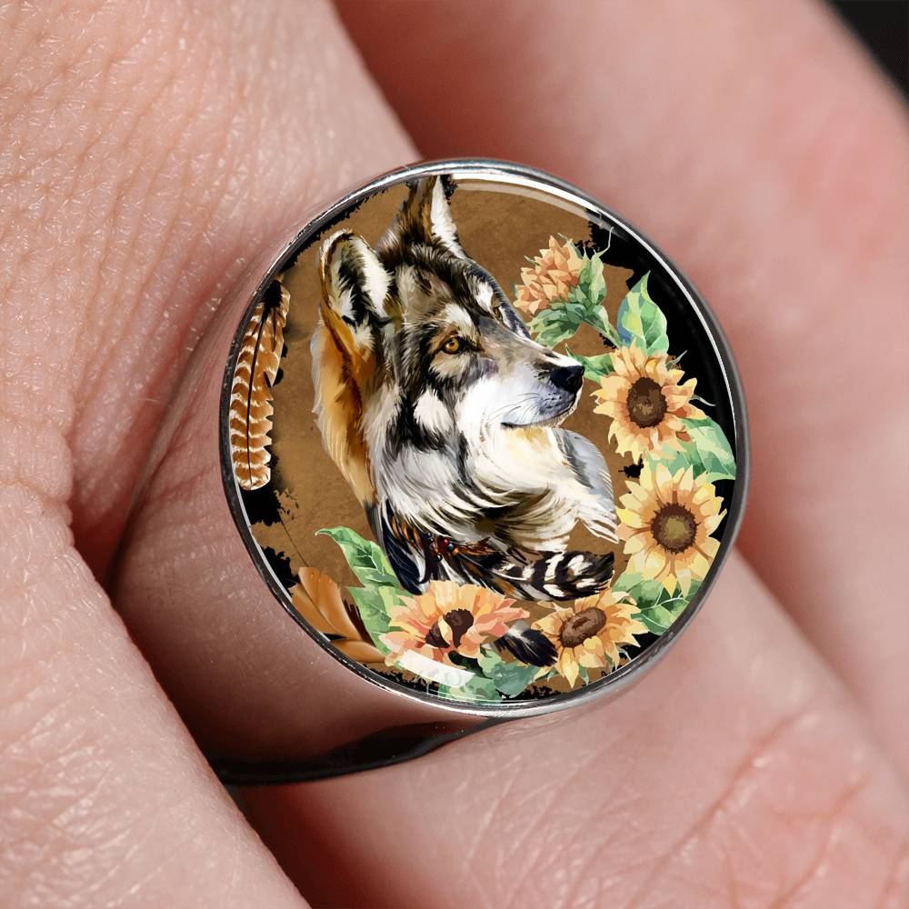 Wolf Floral Signet Ring