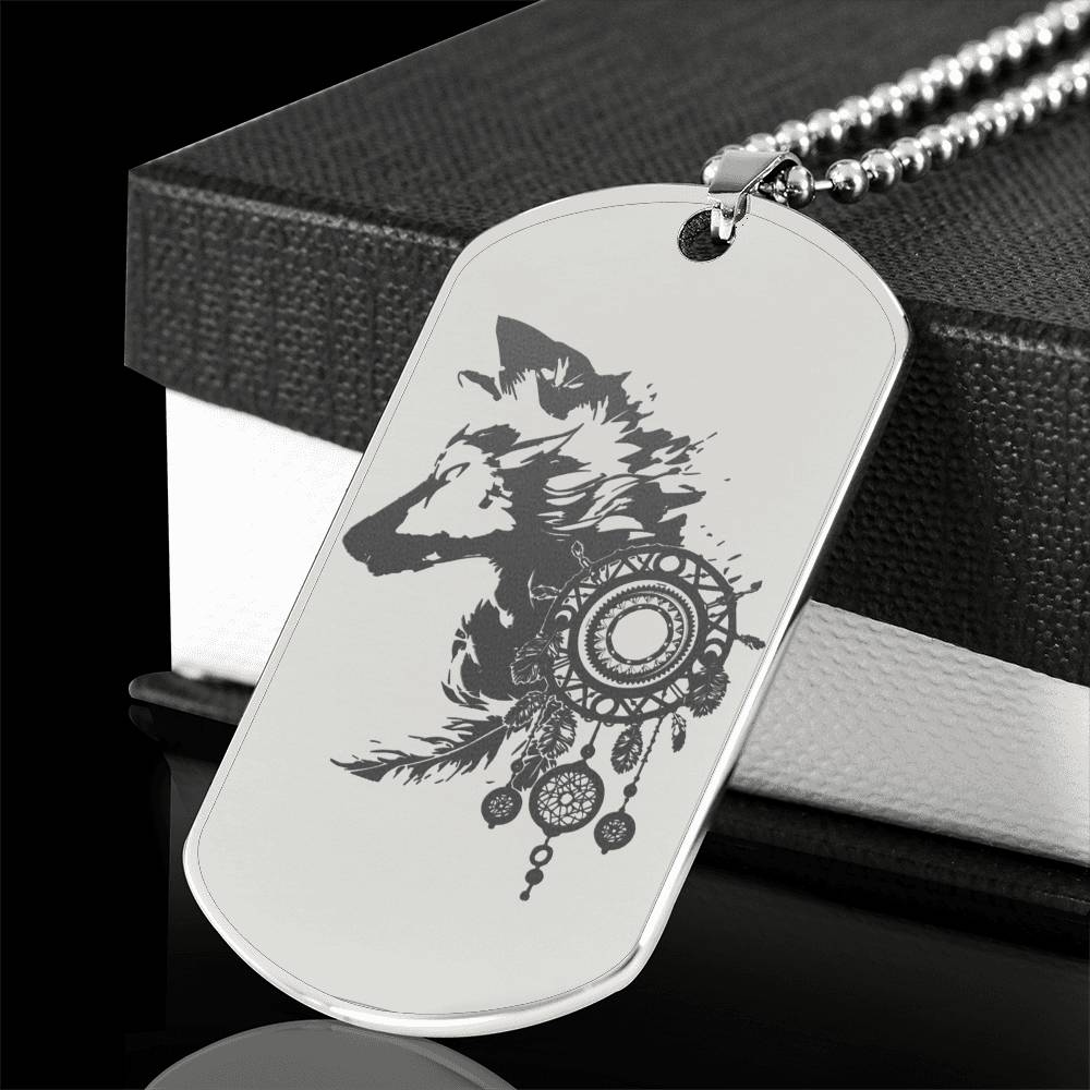 Storm Wolf Engraved Dog Tag